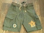 Sabotage semper unique - плотные шорты с ремнем, фото №2