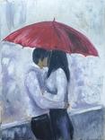"Картина маслом на холсте ""Двое под зонтом"" Шаркади Н. 2018г. 30х40 см. Работа мастихином, фото №2"