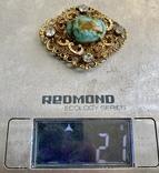 Брошь: позолота, кристаллы, керамика, фото №5