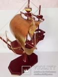 Винтажный старинный парусник.(Латунь, дерево.Авторский), фото №5
