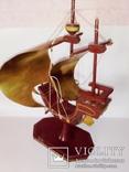 Винтажный старинный парусник.(Латунь, дерево.Авторский), фото №8