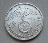 2 марки 1938 г. (G) Третий рейх, серебро, фото №2