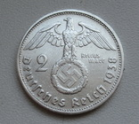 2 марки 1938 г. (G) Третий рейх, серебро, фото №3