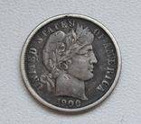 1 дайм / 10 центов 1900 г. США, серебро, фото №2