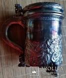 """Кухоль пивний срібний 835"""", Н16 см, 732 грами, фото №5"""