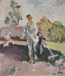 "В.Кнышевский ""Сеют"", х.м.46*40см, 1978г, фото №2"