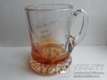 Пивная кружка массивная чешское цветное стекло, фото №2
