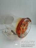 Пивная кружка массивная чешское цветное стекло, фото №3