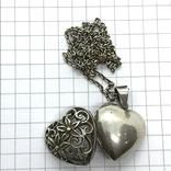 Подвес серебро сердце на цепочке, фото №4