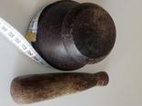 Старая ступка из тропического дерева. Ручная работа., фото №5