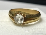 Золотое кольцо с бриллиантом 56 пробы Российская Империя, фото №2