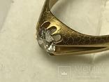 Золотое кольцо с бриллиантом 56 пробы Российская Империя, фото №10