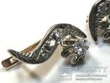 Золотые серьги СССР с бриллиантами 1/2  + бирка, фото №5