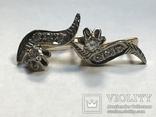 Золотые серьги СССР с бриллиантами 1/2  + бирка, фото №11