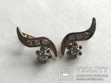 Золотые серьги СССР с бриллиантами 1/2  + бирка, фото №12