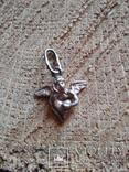 Подвес Ангел на сердце серебро, фото №2
