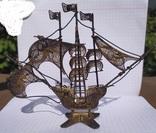 Серебряный парусник, скань, эмаль., фото №7
