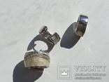 Набор серьги с кольцом 925 пробы с перламутровыми вставками 26,43 гр, фото №11