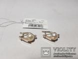Комплект Серебряные серьги и кольцо с золотыми вставками, фото №3