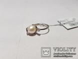 Комплект Серебряные серьги и кольцо с золотыми вставками, фото №11