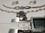 Серебряный набор серьги кольцо браслет ( серебро + золото) 925 и 375 пробы, фото №8