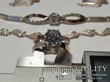 Серебряный набор серьги кольцо браслет ( серебро + золото) 925 и 375 пробы, фото №9