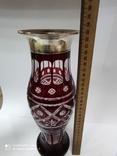 Большая хрустальная ваза в серебре, фото №5
