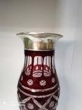 Большая хрустальная ваза в серебре, фото №7
