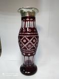 Большая хрустальная ваза в серебре, фото №8