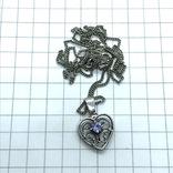 Подвес сердце серебро на цепочке, фото №4