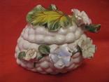 Шкатулка - Виноградная гроздь и цветы - фарфор - Италия., фото №2