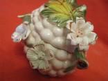 Шкатулка - Виноградная гроздь и цветы - фарфор - Италия., фото №8