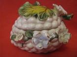Шкатулка - Виноградная гроздь и цветы - фарфор - Италия., фото №10