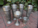 Набор бокалов 5 + рюмка Пищевое олово Европа  ( вес 2,400 ), фото №2