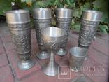 Набор бокалов 5 + рюмка Пищевое олово Европа  ( вес 2,400 ), фото №6