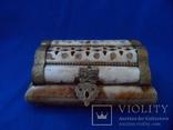 Шкатулка для украшений натуральная кость резьба Европа, фото №3