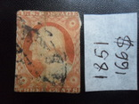 Марки США, Классика. 1851 г. Дж. Вашингтон.  гаш, фото №3