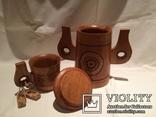Декоративные деревянная кружка и бочонок., фото №3