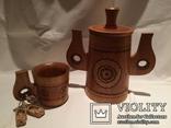 Декоративные деревянная кружка и бочонок., фото №2