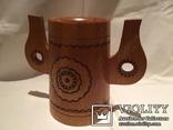 Декоративные деревянная кружка и бочонок., фото №6