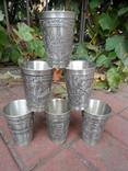 Набор стаканов Города Пищевое олово Клеймо Германия Вес 800 гр, фото №2