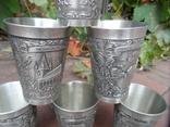 Набор стаканов Города Пищевое олово Клеймо Германия Вес 800 гр, фото №5
