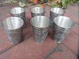 Набор стаканов Города Пищевое олово Клеймо Германия Вес 800 гр, фото №7