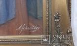 """Картина """"Встреча"""" художник А. Schneider Европа холст масло рама, фото №3"""