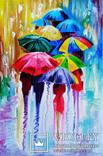 Картина маслом 20х30 Зонтики, фото №2