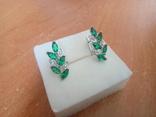 Сережки нові із зеленими вставками, фото №2