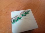 Сережки нові із зеленими вставками, фото №3