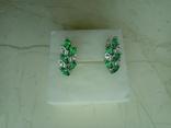 Сережки нові із зеленими вставками, фото №8