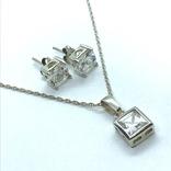 Серьги и подвес серебро на цепочке, фото №3