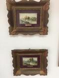 """Парные картины """"Пейзаж"""", руч. живопись на фарфоре одного худ., подписн., нач. 20 века., фото №2"""